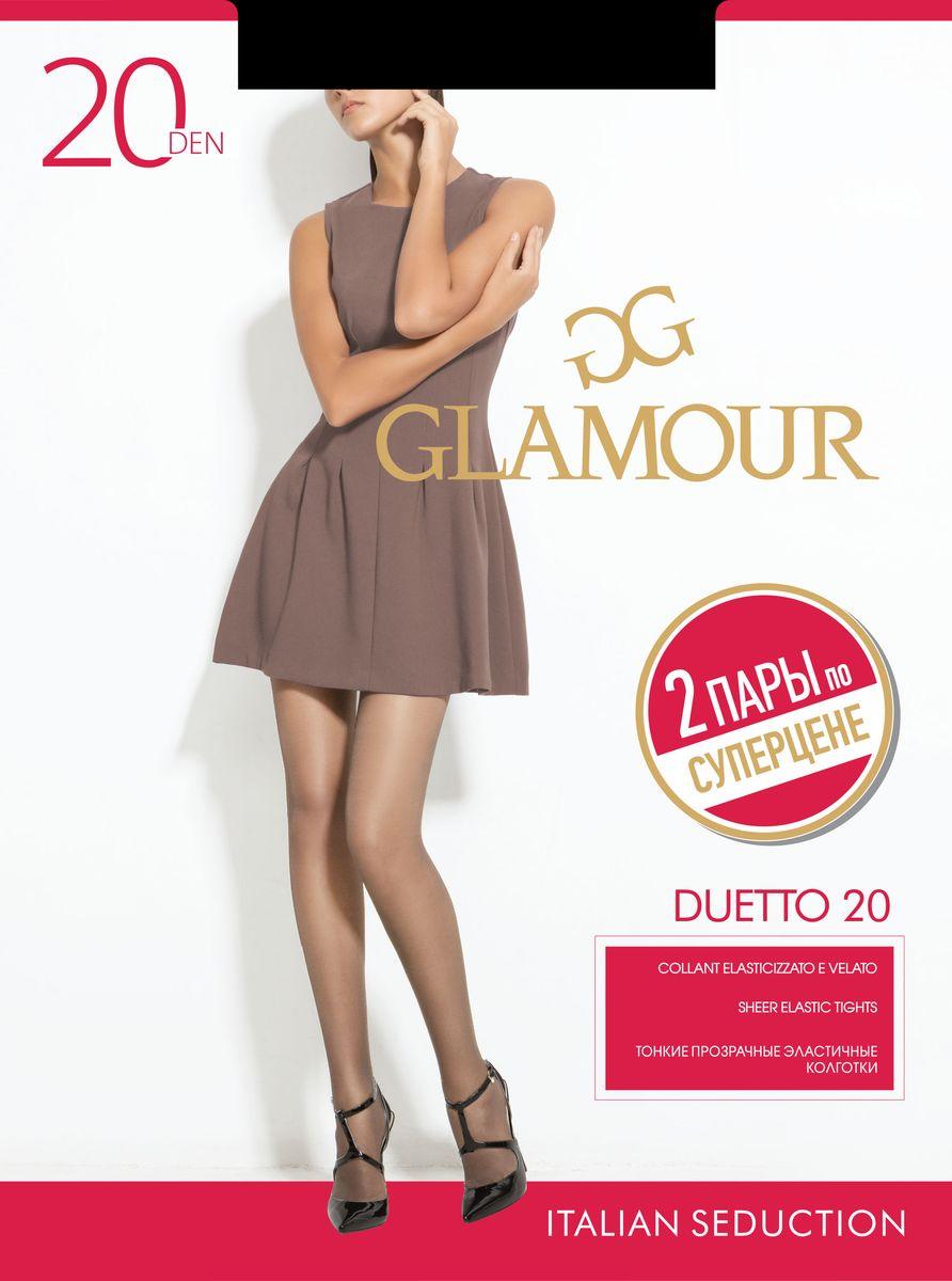 Колготки женские Duetto 20, 2 парыDuetto 20Стильные классические колготки Glamour Duetto 20, изготовленные из эластичного полиамида, идеально дополнят ваш образ и подчеркнут элегантность и стиль. Тонкие шелковистые колготки с укрепленными шортиками легко тянутся, что делает их комфортными в носке. Гладкие и мягкие на ощупь, они имеют комфортный широкий пояс и укрепленный прозрачный мысок. Идеальное облегание и комфорт гарантированы при каждом движении. Плотность: 20 den. В комплект входят 2 пары.