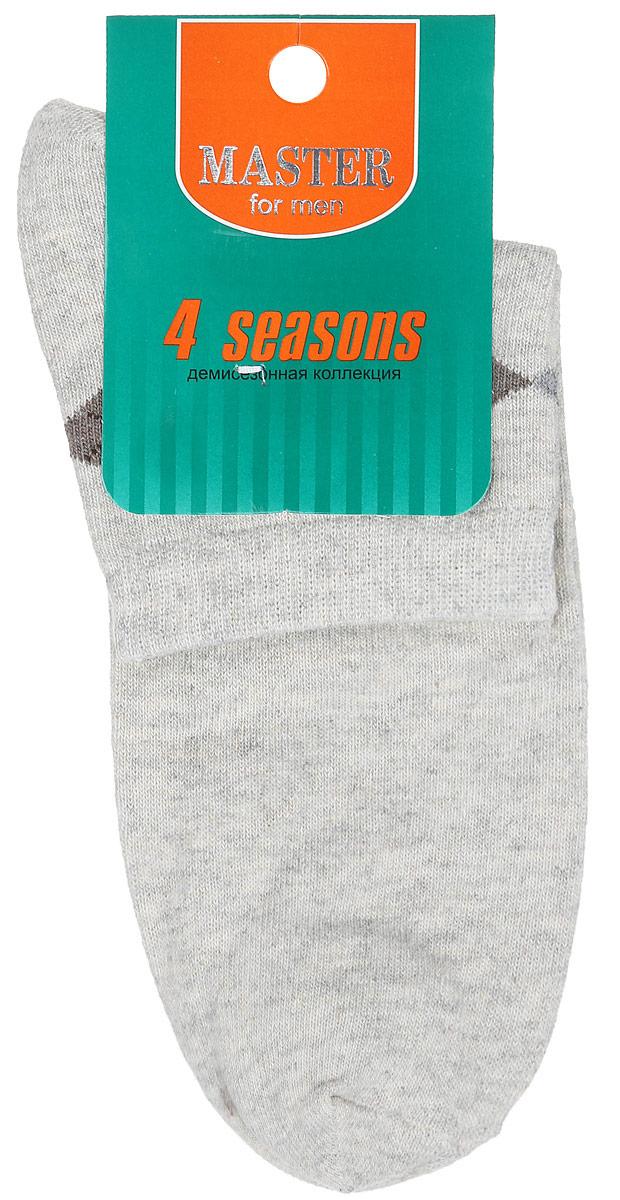 Носки мужские. 5803458034Удобные носки Master Socks, изготовленные из высококачественного комбинированного материала, очень мягкие и приятные на ощупь, позволяют коже дышать. Эластичная резинка плотно облегает ногу, не сдавливая ее, обеспечивая комфорт и удобство. Носки с укороченным паголенком оформлены геометрическим принтом на верхней части носка. Удобные и комфортные носки великолепно подойдут к любой вашей обуви.