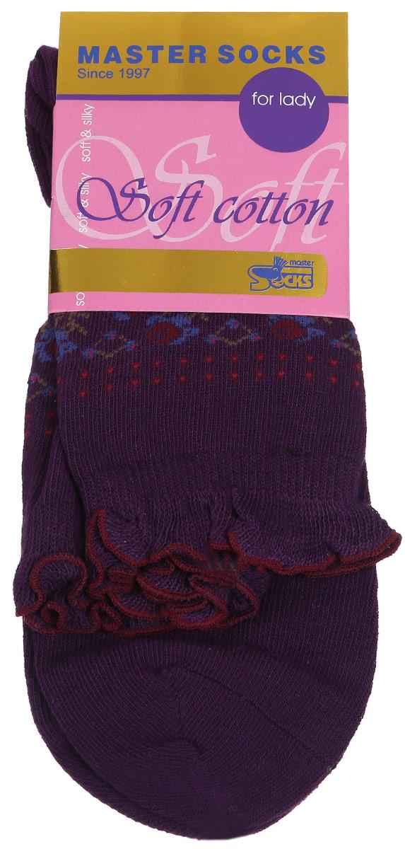 Носки женские Soft Cotton. 85008_узоры85008Удобные носки Master Socks, изготовленные из высококачественного комбинированного материала, очень мягкие и приятные на ощупь, позволяют коже дышать. Эластичная резинка плотно облегает ногу, не сдавливая ее, обеспечивая комфорт и удобство. Модель с стандартным паголенком оформлена оригинальным принтом, манжета изделия дополнена рюшами. Удобные и комфортные носки великолепно подойдут к любой вашей обуви.