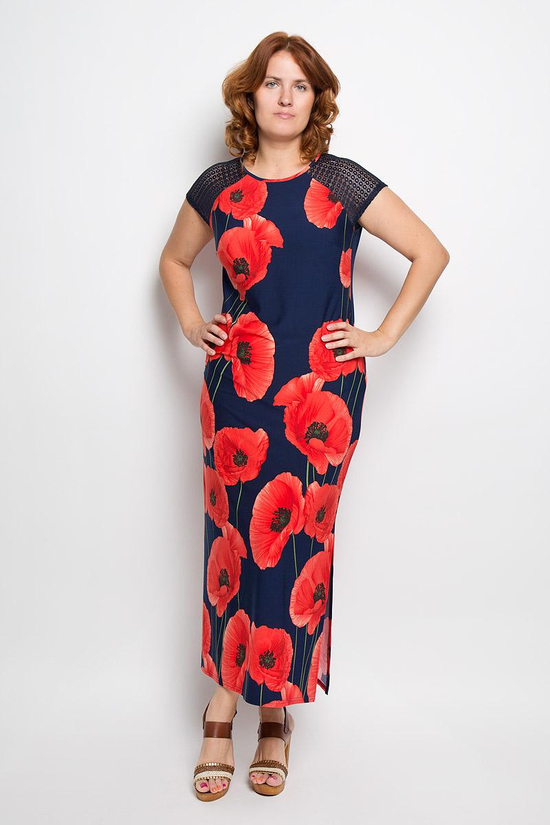 Платье921мПлатье Milana Style поможет создать оригинальный женственный образ. Модель выполнена из вискозы и полиэстера с добавлением лайкры. Платье очень приятное на ощупь, не сковывает движений и обеспечивает комфорт. Платье-макси с короткими рукавами-реглан и круглым вырезом горловины оформлено цветочным принтом. Нижняя часть модели по одному из боковых швов дополнена разрезом. Плечи изделия украшены вставками из кружевного материала. Такое платье станет модным и стильным дополнением к вашему гардеробу!
