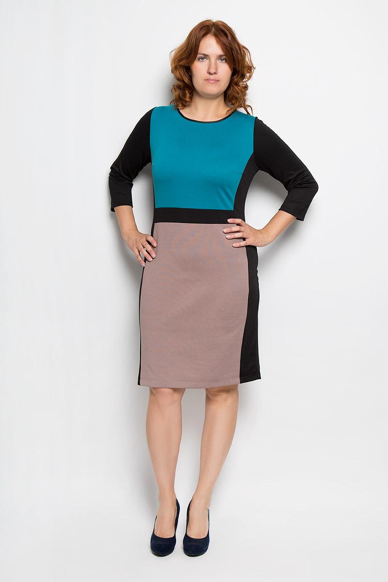 Платье1509-033Платье Milana Style идеально подойдет для вас и станет стильным дополнением к вашему гардеробу. Выполненное из ПАНа с добавлением шерсти и эластана, оно очень приятное на ощупь, не сковывает движений и хорошо вентилируется. Модель с круглым вырезом горловины и рукавами 3/4. Горловина обработана кантом. Платье-миди дополнено вставками контрастного цвета. Такое платье поможет создать яркий и привлекательный образ, в нем вам будет удобно и комфортно.