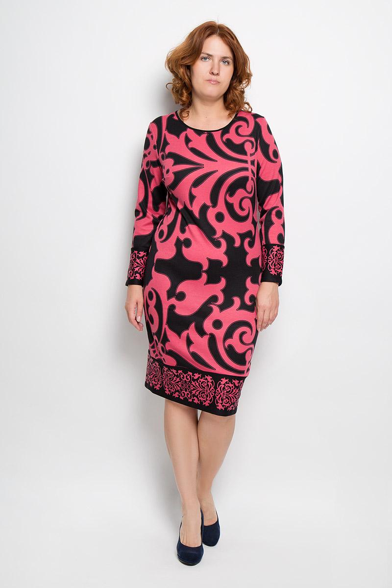 Платье821-634Платье Milana Style идеально подойдет для вас и станет стильным дополнением к вашему гардеробу. Выполненное из вискозы с добавлением полиамида и эластана, оно очень приятное на ощупь, не сковывает движений и хорошо вентилируется. Модель с круглым вырезом горловины и длинными рукавами оформлена оригинальным узором. Низ рукавов и низ изделия обработан широкими манжетами. Такое платье поможет создать яркий и привлекательный образ, в нем вам будет удобно и комфортно.