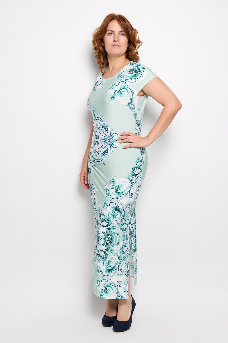 Платье. 111-605-012830-442921мПлатье Milana Style поможет создать оригинальный женственный образ. Модель выполнена из вискозы и полиэстера с добавлением лайкры. Платье очень приятное на ощупь, не сковывает движений и обеспечивает комфорт. Платье-макси с короткими рукавами-реглан и круглым вырезом горловины оформлено цветочным принтом. Нижняя часть модели по одному из боковых швов дополнена разрезом. Такое платье станет модным и стильным дополнением к вашему гардеробу!