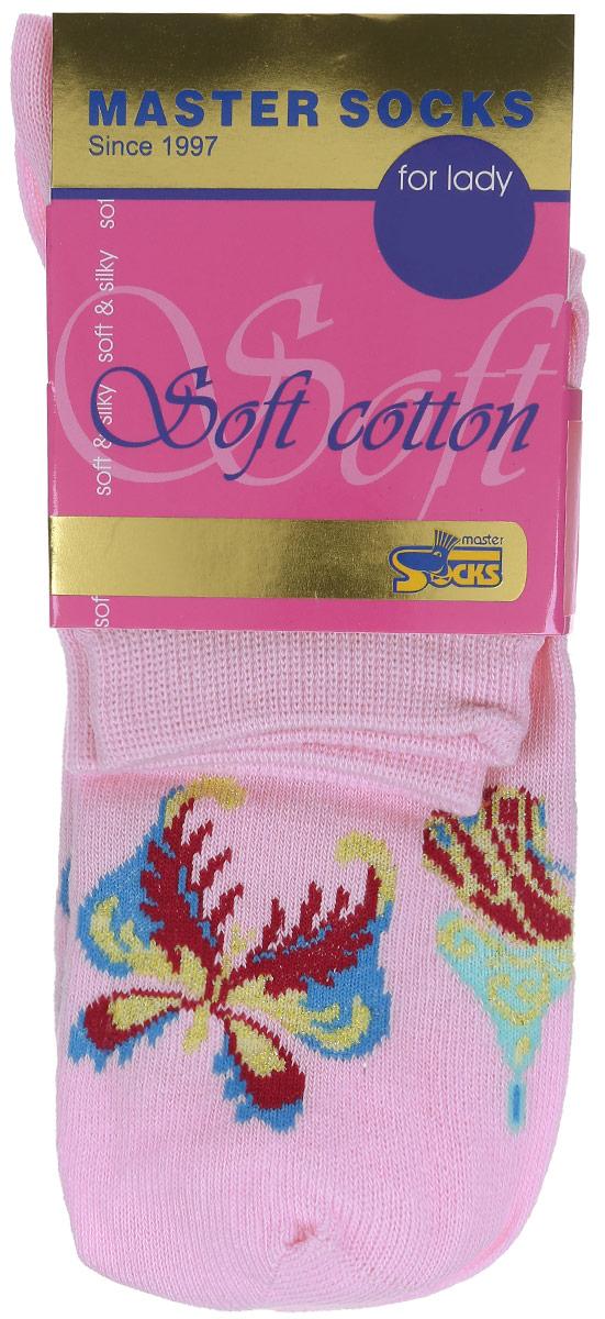 Носки женские Soft Cotton. 8511185111Удобные носки Master Socks, изготовленные из высококачественного комбинированного материала, очень мягкие и приятные на ощупь, позволяют коже дышать. Эластичная резинка плотно облегает ногу, не сдавливая ее, обеспечивая комфорт и удобство. Модель с стандартным паголенком оформлена принтом с изображением бабочек. Удобные и комфортные носки великолепно подойдут к любой вашей обуви.