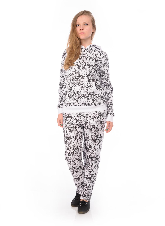 Комплект одеждыRAV02-002Женский комплект RAV состоит из толстовки и брюк. Комплект изготовлен из натурального хлопка. Толстовка с капюшоном и длинными рукавами. Край капюшона дополнен шнурком-кулиской. Низ рукавов и низ изделия обработаны эластичными манжетами. Спереди расположен накладной карман кенгуру. Брюки по талии дополнены эластичным поясом со шнурком-кулиской. В боковых швах обработаны втачные карманы с косыми срезами. Комплект оформлен принтовыми надписями.