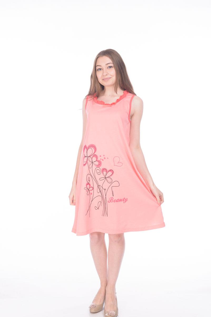 Ночная рубашкаRAV04-011Женская сорочка выполнена из натурального хлопка. Модель без рукавов и с круглым вырезом горловины.