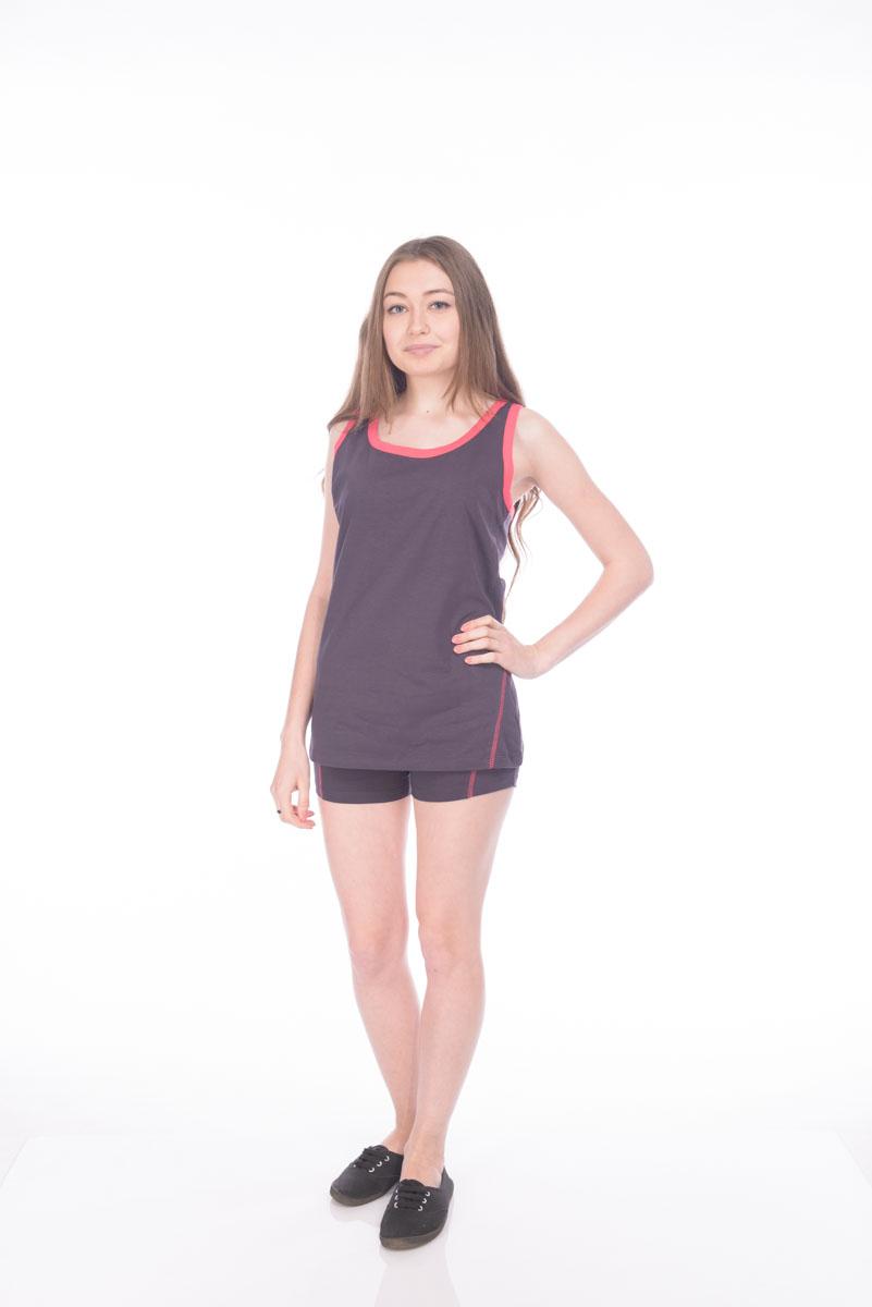 Комплект одеждыRAV04-010Женский комплект RAV состоит из майки и шорт. Комплекс выполнен из хлопка с добавлением эластана. Майка-борцовка с круглым вырезом горловины. Шорты по талии дополнены эластичной резинкой. Комплект оформлен отстрочкой контрастного цвета.