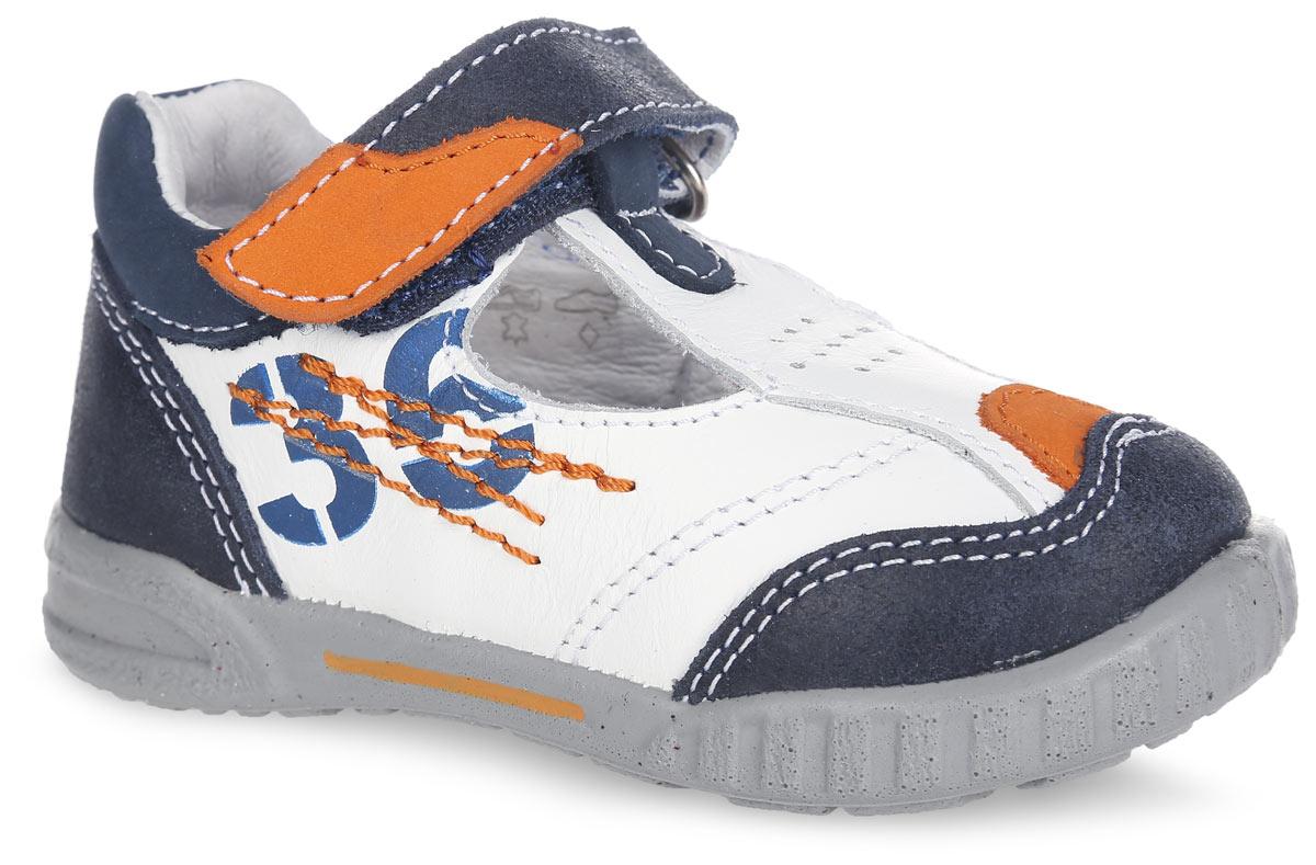 Туфли для мальчика. 132068-22132068-22Легкие и удобные туфли от Котофей придутся по душе вашему мальчику. Модель выполнена из натуральной кожи и оформлена контрастной прострочкой, сбоку - надписью 36, на подъеме - декоративной перфорацией. Ремешок с застежкой-липучкой надежно зафиксирует ножку ребенка. Внутренняя поверхность из натуральной кожи не натирает. Стелька из материала ЭВА с поверхностью из натуральной кожи дополнена супинатором с перфорацией, который обеспечивает правильное положение стопы ребенка при ходьбе и предотвращает плоскостопие. Перфорация на стельке позволяет ногам дышать. Рифление на подошве обеспечивает отличное сцепление с любой поверхностью. Стильные туфли - незаменимая вещь в гардеробе каждого мальчика!