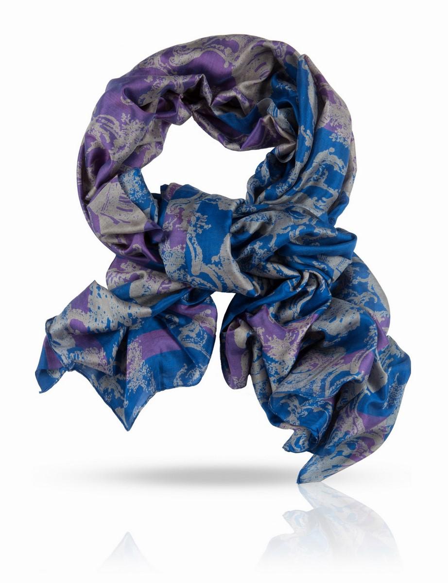 Палантин. SN-CROWN/BLUESN-CROWN/BLUEПалантин, 100% натуральный шелк, шелковая ткань ручного плетения, вес изделия 75г