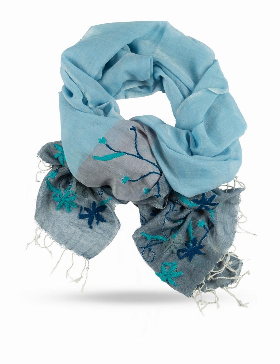 Палантин. ZW.EMB/BLUE2ZW.EMB/BLUE2Палантин, 100% Шерсть, вес изделия 125г, ручная вышивка