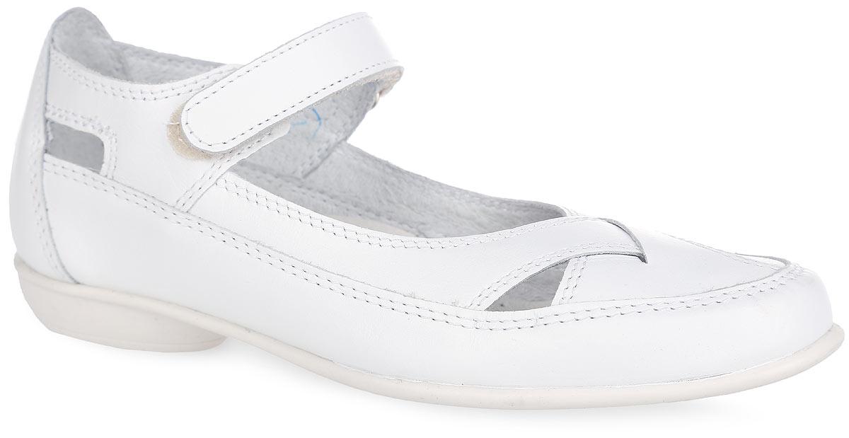 Туфли для девочки. 632001-21632001-21Прелестные туфли от Котофей очаруют вашу девочку с первого взгляда! Модель выполнена из натуральной кожи. Ремешок с застежкой-липучкой надежно зафиксирует ножку ребенка. Внутренняя поверхность из натуральной кожи не натирает. Стелька из материала ЭВА с поверхностью из натуральной кожи дополнена супинатором с перфорацией, который обеспечивает правильное положение стопы ребенка при ходьбе и предотвращает плоскостопие. Небольшой каблук невероятно устойчив. Рифленая поверхность подошвы и каблука обеспечивает отличное сцепление с любой поверхностью. Стильные туфли - незаменимая вещь в гардеробе каждой девочки!