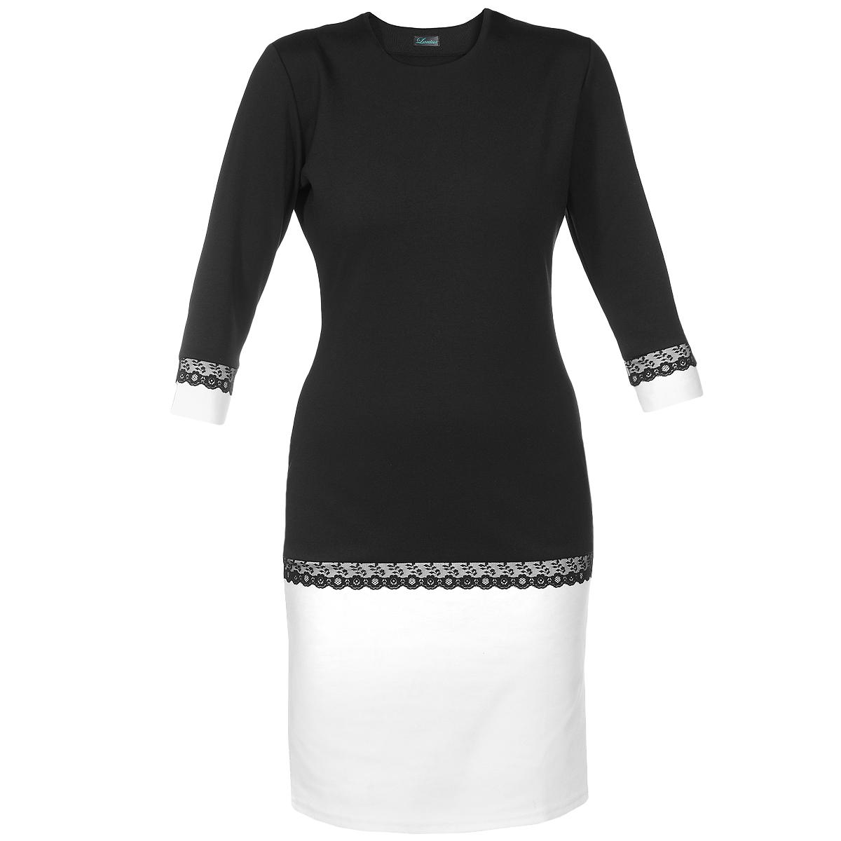 Платье. 536536Очаровательное платье Lautus приталенного силуэта, изготовленное из высококачественного полиэстера, придется по душе любой моднице. Круглый вырез горловины привлечет внимание к зоне декольте. Втачные рукава 3/4 дополнены контрастными манжетами. Низ платья акцентирован широкой вставкой из контрастной ткани. Рукава и низ платья декорированы кружевной тесьмой, что добавит изюминку в ваш образ. Лаконичный фасон платья обратит внимание на отличное чувство стиля. Платье станет отличным вариантом для работы в офисе, а дополнив модель аксессуарами, вы получите отличный вариант для праздника.