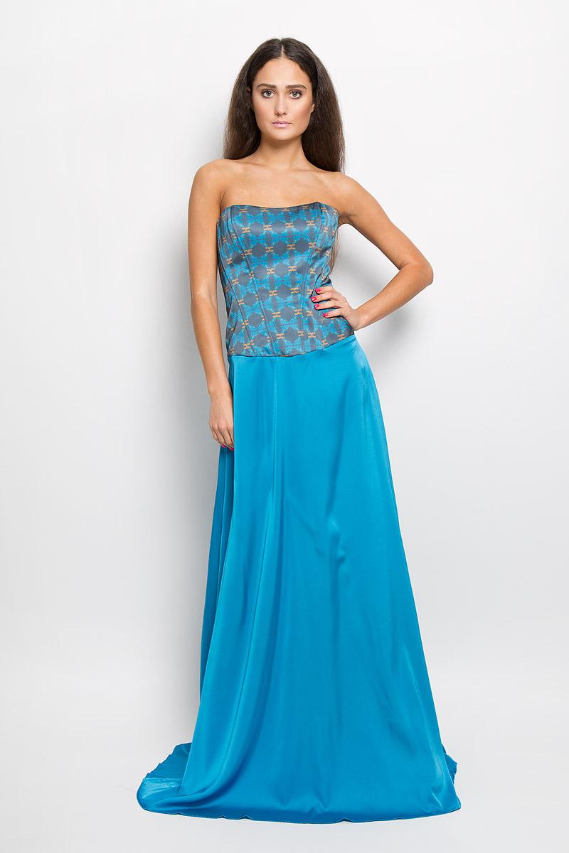 Платье. P38A-B11P38A-B11Великолепное платье Анна Чапман, выполненное из нежнейшей ткани, покорит вас с первого взгляда. Застегивается модель на застежку-молнию на спинке. Верх платья, выполненный в виде корсета и дополненный ребрами жесткости, идеально облегает фигуру. Платье имеет пришивную расклешенную юбку-макси. Модель оформлена красочным принтом с изображением лягушек. Такое платье станет стильным дополнением к вашему гардеробу.