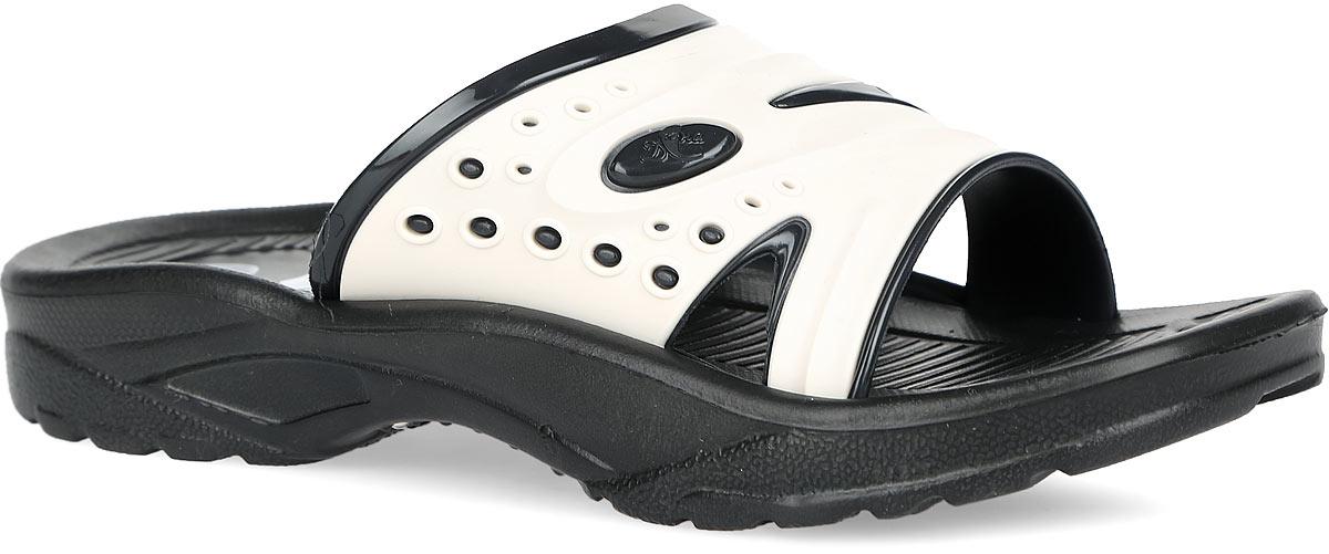 921Практичные шлепанцы Дюна не оставят равнодушным вашего мальчика! Подъем изделия изготовлен из ПВХ, оформлен тисненым логотипом бренда и дополнен перфорацией для лучшей воздухопроницаемости. Подошва и стелька выполнены полностью из ЭВА материала. Стелька с рифленой поверхностью подарит комфорт при ношении обуви. Подошва с протектором гарантирует надежное сцепление с поверхностью. Шлепанцы прекрасно подойдут для повседневного использования в бассейне, дома или на отдыхе.