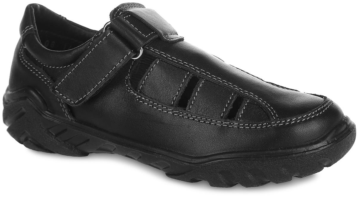 Туфли для мальчика. 532077-21532077-21Стильные туфли от Котофей очаруют вашего мальчика с первого взгляда! Модель выполнена из качественной натуральной кожи и оформлена контрастной прострочкой. Внутренняя поверхность из натуральной кожи не натирает. Стелька из материала ЭВА с поверхностью из натуральной кожи комфортна при движении. Ремешок с застежкой-липучкой надежно зафиксирует ножку ребенка. Внутренняя форма обуви имеет анатомическую форму следа уже в подошве и в точности повторяет изгибы свода стопы. Она поддерживает продольный и поперечный своды, обеспечивает оптимальную стабильность и фиксацию пяточной части. Сквозные отверстия верха обеспечивают естественную вентиляцию. Рифленая поверхность подошвы обеспечивает отличное сцепление с любой поверхностью. Стильные туфли - незаменимая вещь в гардеробе каждого мальчика!
