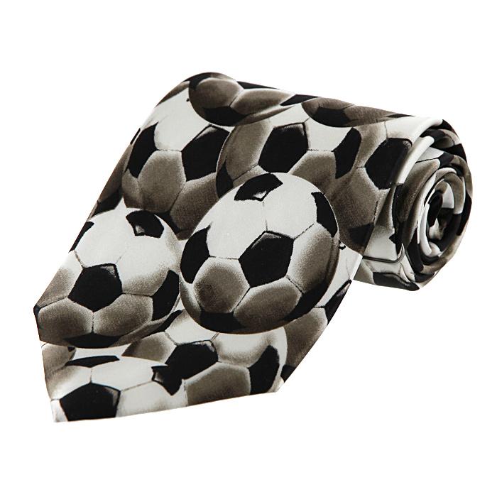 Галстук. TSP003TSP003Шелковый галстук Robin Ruth, выполненный из искусственного шелка, оформлен принтом в виде футбольных мячей. Галстук - это обязательный атрибут одежды делового человека, необходимый для общения в официальной обстановке и просто на дружеской вечеринке. Поэтому так важно его правильно выбрать. Стильный галстук станет завершающим штрихом делового образа, подчеркнет стиль, статус и безупречный вкус владельца.