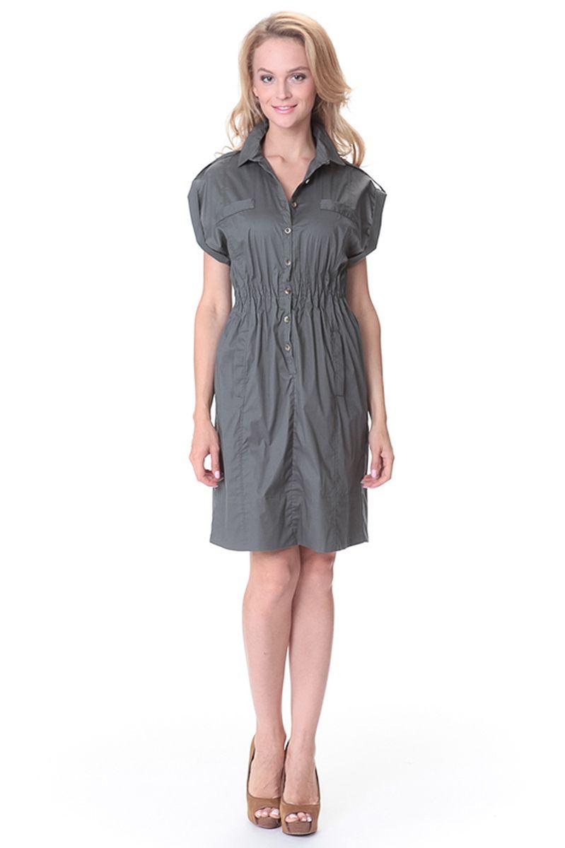 Платье45521Платье Relax Mode выполнено из хлопка с добавлением эластана. Модель оформлена прострочкой и застегивается с помощью пуговиц. Изделие оснащено карманами эластичной резинкой на поясе.