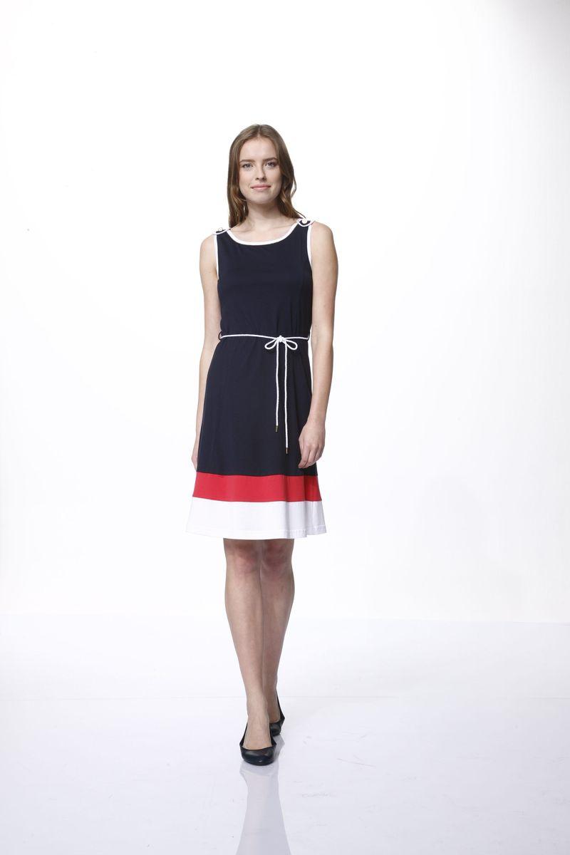Платье43Платье Relax Mode выполнено из хлопка и модала. Модель с воротником-лодочкой оформлена декоративными металлическими пуговицами и дополнена поясом в виде веревки.