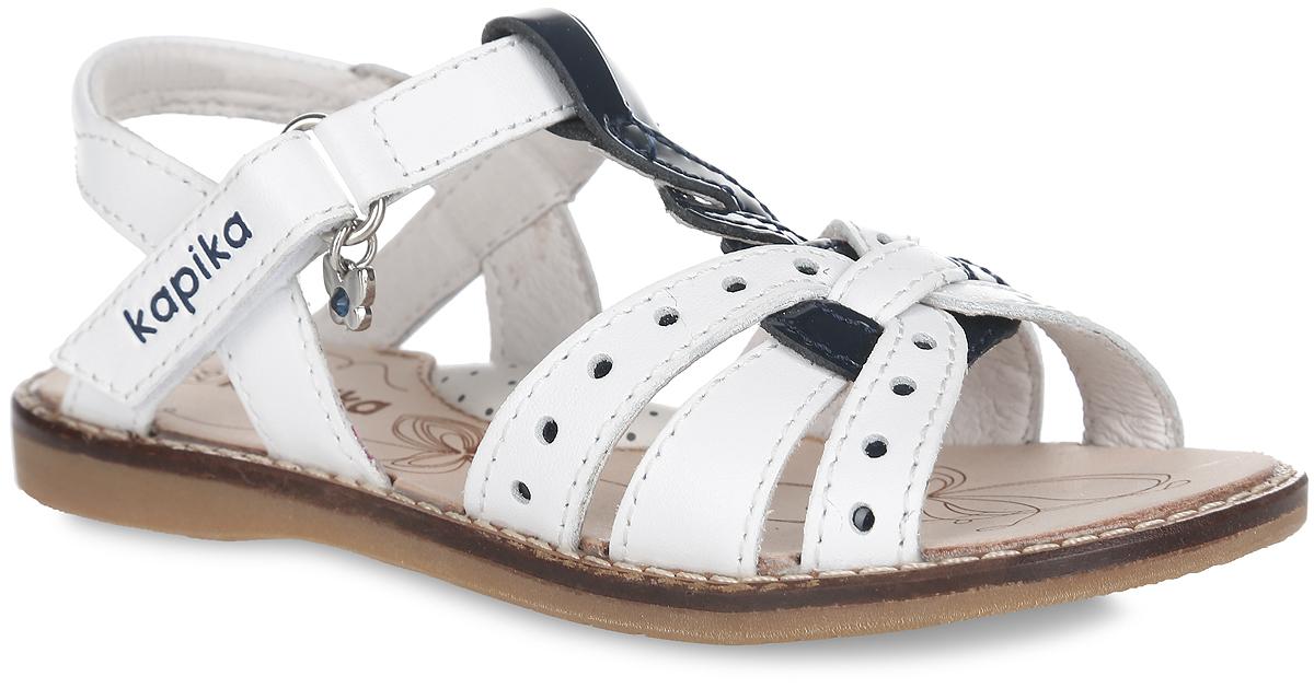 Сандалии для девочки. 3219932199-1Модные сандалии от Kapika придутся по душе вашей девочке и идеально подойдут для повседневной носки в летнюю погоду! Модель изготовлена из натуральной кожи и оформлены декоративной перфорацией. Ремешок с застежкой-липучкой обеспечивает надежную фиксацию модели на ноге. Внутренняя поверхность и стелька из натуральной кожи комфортны при ходьбе. Стелька оснащена супинатором, который обеспечивает правильное положение стопы ребенка при ходьбе и предотвращает плоскостопие. Подошва с рифлением обеспечивает сцепление с любой поверхностью. Стильные сандалии - незаменимая вещь в гардеробе каждой девочки!