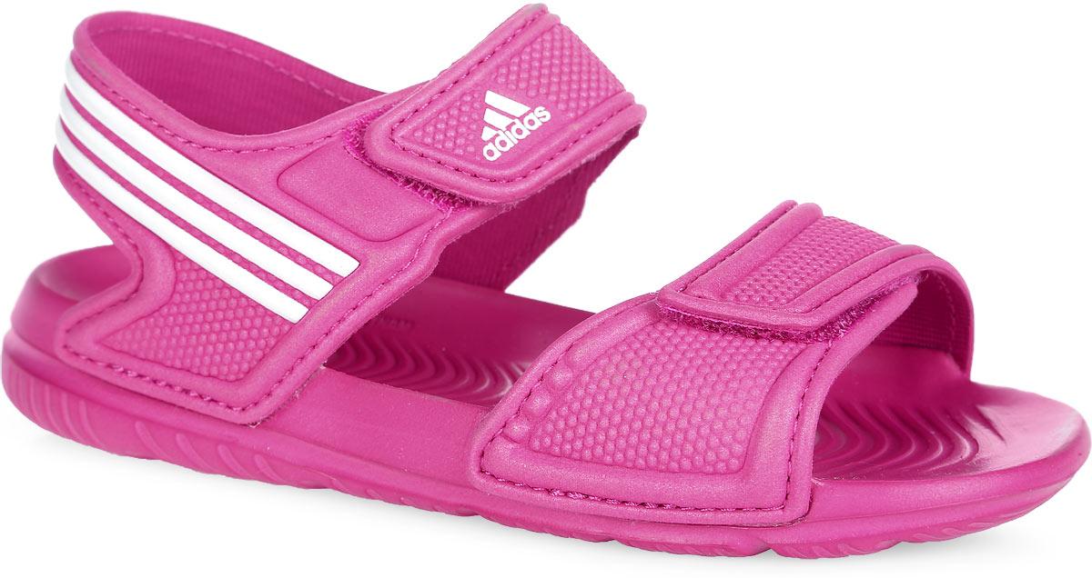 Сандалии для девочки Akwah 9 I. AF3867AF3867Стильные сандалии от adidas Akwah 9 I придутся по душе вашей дочурке. Верх модели выполнен из быстросохнущего полимерного материала и оформлен на верхнем ремешке логотипом бренда, на заднике - фирменными полосками. Ремешки на застежках-липучках надежно зафиксируют изделие на стопе. Текстильная подкладка предотвратит натирание. Рифление на верхней поверхности подошвы анатомической формы предотвращает выскальзывание ноги. Рельефное основание легкой литой подошвы из ЭВА материала гарантирует уверенное сцепление с любой поверхностью. Такие сандалии отлично подойдут для самых юных любителей плавания для похода в бассейн или на пляж.