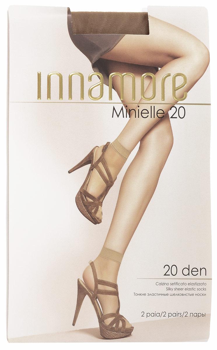 Носки женские Minielle 20, 2 парыMinielle 20Удобные женские носки Innamore Minielle 20, изготовленные из высококачественного эластичного полиамида, идеально подойдут для повседневной носки. Входящий в состав материала полиамид обеспечивает износостойкость, а эластан позволяет носочкам легко тянуться, что делает их комфортными в носке. Эластичная резинка плотно облегает ногу, не сдавливая ее, обеспечивая комфорт и удобство и не препятствуя кровообращению. Практичные и комфортные шелковистые носки великолепно подойдут к любой открытой обуви. В комплект входят 2 пары носков. Плотность: 20 den.