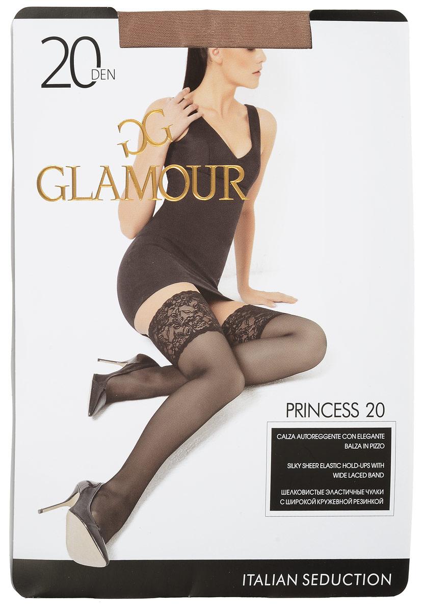 ЧулкиPrincess 20Стильные чулки Glamour Princess 20, изготовленные из эластичного полиамида, идеально дополнят ваш образ в прохладную погоду. Шелковистые матовые чулки легко тянутся, что делает их комфортными в носке. Гладкие и мягкие на ощупь, они имеют удобную широкую ажурную резинку на силиконовой основе и укрепленный прозрачный мысок. Идеальное облегание и комфорт гарантированы при каждом движении. Плотность: 20 den.