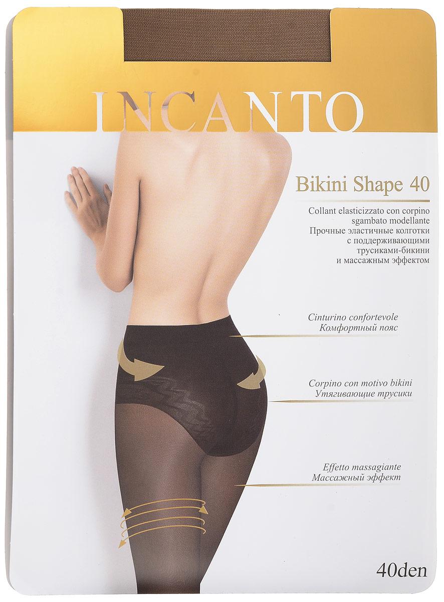 Колготки женские Bikini Shape 40. 1977819778Стильные классические колготки Incanto Bikini Shape 40, изготовленные из эластичного полиамида, идеально дополнят ваш образ и подчеркнут элегантность и стиль. Тонкие шелковистые колготки с ажурными моделирующими трусиками-бикини легко тянутся, что делает их комфортными в носке. Гладкие и мягкие на ощупь, они имеют удобные плоские швы, гигиеническую ластовицу и укрепленный прозрачный мысок. Трусики корректируют фигуру в области живота и ягодиц, создавая идеальный силуэт. Идеальное облегание и комфорт гарантированы при каждом движении. Плотность: 40 den.
