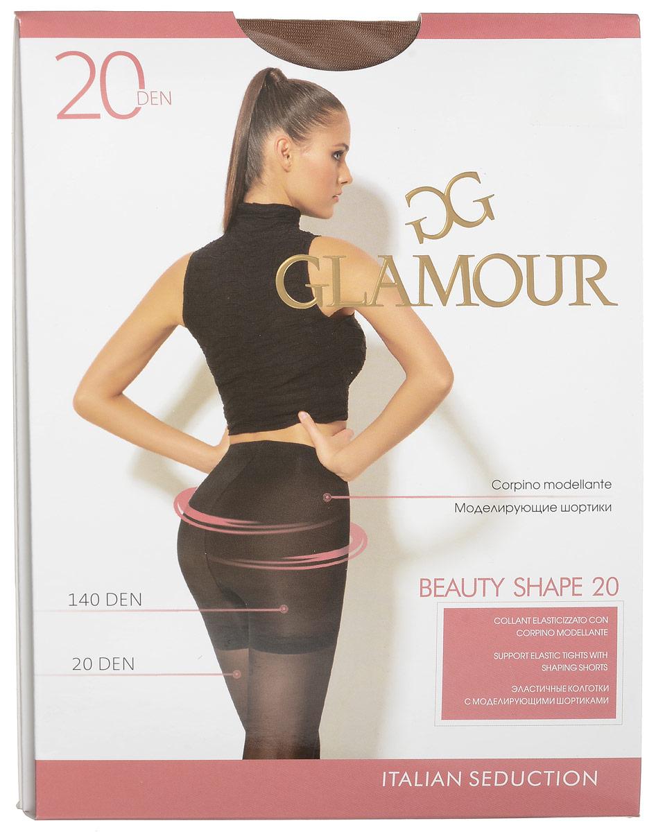 Колготки женские Beauty Shape 20. 2797027970Стильные классические колготки Glamour Beauty Shape 20, изготовленные из эластичного полиамида, идеально дополнят ваш образ и подчеркнут элегантность и стиль. Тонкие шелковистые колготки легко тянутся, что делает их комфортными в носке. Гладкие и мягкие на ощупь, они имеют удобные плоские швы, гигиеническую ластовицу и укрепленный прозрачный мысок. Моделирующие шортики приподнимают ягодицы и делают живот плоским, создавая идеальный силуэт. Идеальное облегание и комфорт гарантированы при каждом движении. Плотность: 20 den.
