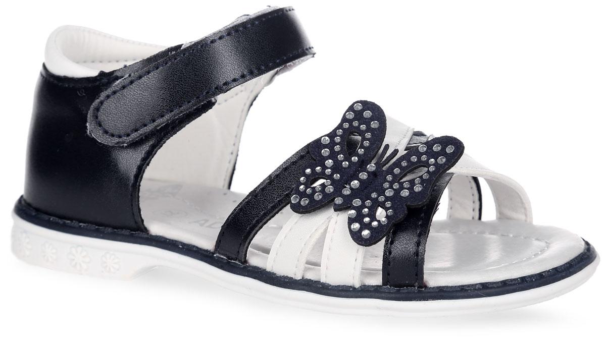 6097Прелестные босоножки от Adagio придутся по душе юной моднице! Модель изготовлена из искусственной кожи и оформлена декоративным элементом в виде бабочки, украшенной стразами. Ремешок с застежкой-липучкой надежно зафиксирует модель на ноге. Стелька из натуральной кожи дополнена супинатором с перфорацией, который обеспечивает правильное положение ноги ребенка при ходьбе, предотвращает плоскостопие. Подошва с рифлением гарантирует идеальное сцепление с любой поверхностью. Стильные босоножки - незаменимая вещь в гардеробе каждой девочки!