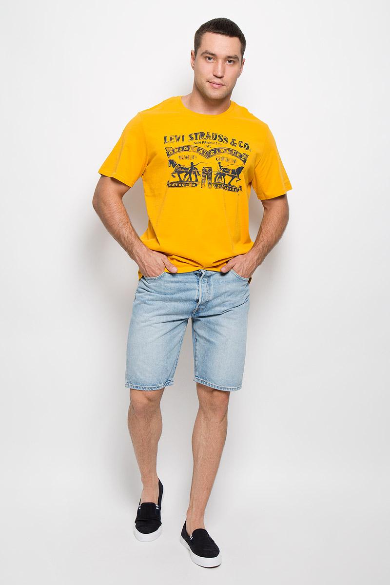 Шорты3651200360Стильные мужские шорты Levis® 501 станут отличным дополнением к вашему гардеробу. Изготовленные из натурального хлопка, они мягкие и приятные на ощупь, не сковывают движения и позволяют коже дышать. Шорты средней посадки застегиваются на металлическую пуговицу по поясу и имеют ширинку на пуговицах, а также шлевки для ремня. Модель имеет классический пятикарманный крой: спереди - два втачных кармана и один маленький накладной, а сзади - два накладных кармана. Изделие оформлено эффектом искусственного состаривания денима: легкие потертости. Современный дизайн и расцветка делают эти шорты модным предметом одежды. Это идеальный вариант для тех, кто хочет заявить о себе и своей индивидуальности и отразить в имидже собственное мировоззрение.