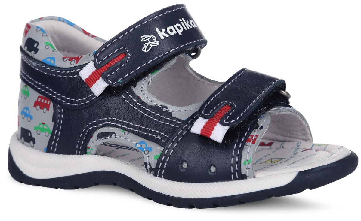 Сандалии для мальчика. 31263-231263-2Модные сандалии от Kapika очаруют вашего малыша с первого взгляда! Модель выполнена из натуральной кожи контрастных цветов и оформлена рисунком с изображением машин. Ремешки на застежках-липучках, дополненные текстильными вставками, обеспечивают оптимальную посадку обуви на ноге, не давая ей смещаться из стороны в сторону и назад. Стелька из натуральной кожи дополнена супинатором, который обеспечивает правильное положение ноги ребенка при ходьбе, предотвращает плоскостопие. Подошва с рифленым протектором защищает изделие от скольжения. Стильные сандалии поднимут настроение вам и вашему ребенку!