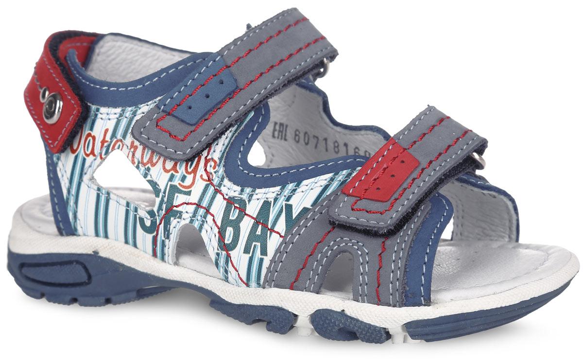 Сандалии для мальчика. 6-6071816026-607181602Модные сандалии от Elegami покорят вашего мальчика с первого взгляда. Модель изготовлена из натуральной кожи и оформлена контрастной прострочкой, по бокам - принтом в полоску и надписями. Ремешки с застежками-липучками прочно зафиксируют изделие на ноге. Внутренняя поверхность и стелька из натуральной кожи комфортны при движении. Стелька дополнена супинатором, который обеспечивает правильное положение ноги ребенка при ходьбе, предотвращает плоскостопие. Подошва с рифлением гарантирует отличное сцепление с любой поверхностью. Стильные и удобные сандалии - необходимая вещь в гардеробе каждого мальчика!