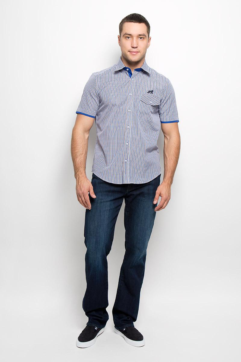 Рубашка мужская. JJcy-k-161136-SL17-U1JJcy-k-161136-SL17-U1Стильная мужская рубашка John Jeniford, выполненная из хлопка с добавлением полиэстера, подчеркнет ваш уникальный стиль и поможет создать оригинальный образ. Такой материал великолепно пропускает воздух, обеспечивая необходимую вентиляцию, а также обладает высокой гигроскопичностью. Рубашка с короткими рукавами и отложным воротником застегивается на пуговицы спереди. Изделие дополнено небольшим накладным карманом с клапаном на пуговице и вышитым изображением животного. Рубашка оформлена принтом в мелкую клетку. Классическая рубашка - превосходный вариант для базового мужского гардероба и отличное решение на каждый день. Такая рубашка будет дарить вам комфорт в течение всего дня и послужит замечательным дополнением к вашему гардеробу.