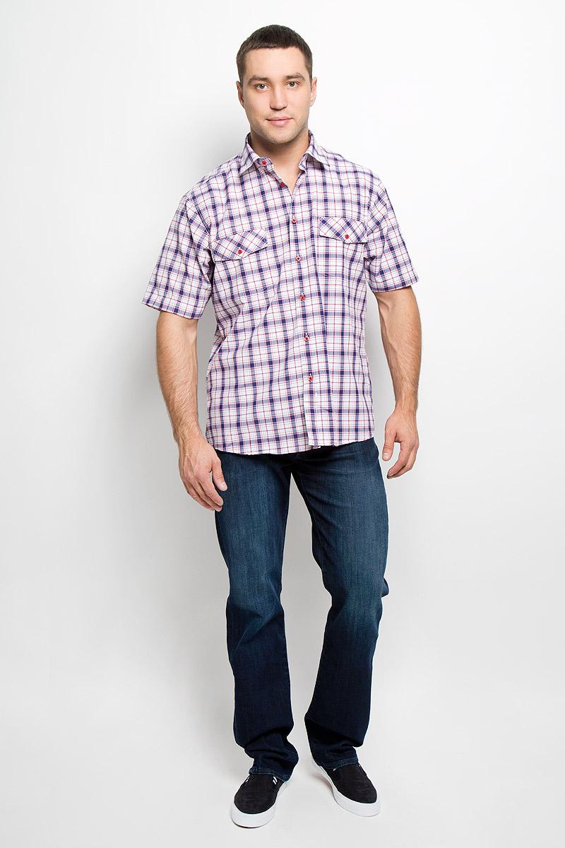 Рубашка мужская. JJc-k-161445-N3JJc-k-161445-N3Стильная мужская рубашка John Jeniford, выполненная из хлопка с добавлением полиэстера, подчеркнет ваш уникальный стиль и поможет создать оригинальный образ. Такой материал великолепно пропускает воздух, обеспечивая необходимую вентиляцию, а также обладает высокой гигроскопичностью. Рубашка с короткими рукавами и отложным воротником застегивается на пуговицы спереди. Изделие дополнено двумя небольшими накладными карманами с клапанами на пуговице. Рубашка оформлена принтом в клетку. Классическая рубашка - превосходный вариант для базового мужского гардероба и отличное решение на каждый день. Такая рубашка будет дарить вам комфорт в течение всего дня и послужит замечательным дополнением к вашему гардеробу.