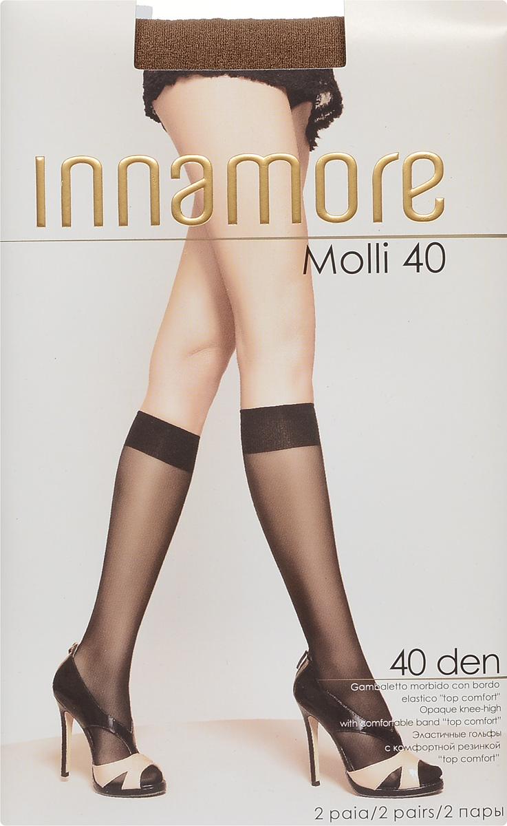 Гольфы женские Molli 40, 2 пары. 60136013Стильные гольфы Innamore Molli 40, изготовленные из эластичного полиамида, идеально дополнят ваш образ в прохладную погоду. Шелковистые гольфы легко тянутся, что делает их комфортными в носке. Гладкие и мягкие на ощупь, они имеют резинку top comfort и укрепленный мысок. Идеальное облегание и комфорт гарантированы при каждом движении. В комплект входят 2 пары гольф. Плотность: 40 den.