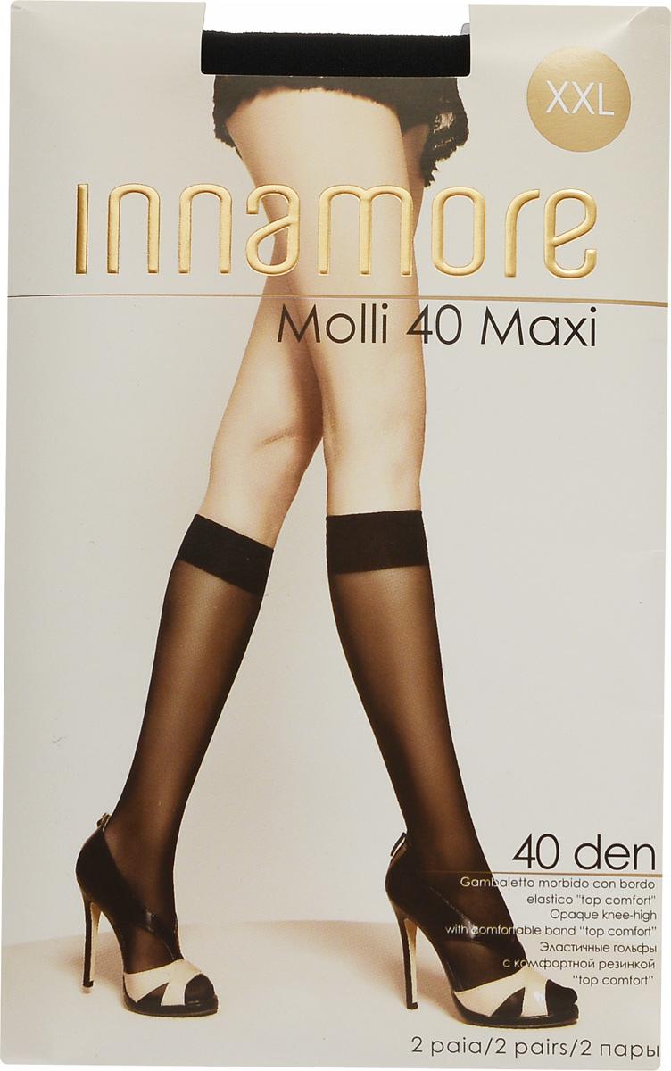 Гольфы женские Molli 40 Maxi, 2 пары. 492492Стильные гольфы Innamore Molli 40 Maxi, изготовленные из эластичного полиамида, идеально дополнят ваш образ в прохладную погоду. Шелковистые гольфы легко тянутся, что делает их комфортными в носке. Гладкие и мягкие на ощупь, они имеют резинку top comfort и укрепленный мысок. Идеальное облегание и комфорт гарантированы при каждом движении. В комплект входят 2 пары гольф. Плотность: 40 den.