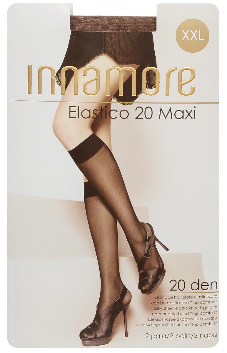 Гольфы женские Elastico 20 Maxi, 2 пары. 491491Стильные гольфы увеличенного размера Innamore Elastico 20 Maxi, изготовленные из эластичного полиамида, идеально дополнят ваш образ в прохладную погоду. Шелковистые гольфы легко тянутся, что делает их комфортными в носке. Гладкие и мягкие на ощупь, они имеют удобную резинку и укрепленный прозрачный мысок. Идеальное облегание и комфорт гарантированы при каждом движении. В комплект входят 2 пары гольф. Плотность: 20 den.