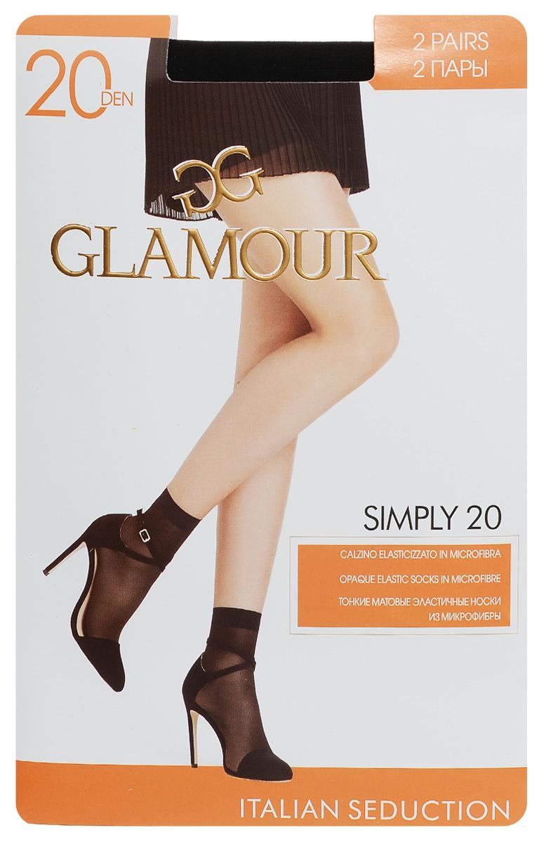 Носки женские Simply 20, 2 пары. 2582525825Удобные женские носки Glamour Simply 20, изготовленные из высококачественного эластичного полиамида, идеально подойдут для повседневной носки. Входящий в состав материала полиамид обеспечивает износостойкость, а эластан позволяет носочкам легко тянуться, что делает их комфортными в носке. Эластичная резинка плотно облегает ногу, не сдавливая ее, обеспечивая комфорт и удобство и не препятствуя кровообращению. Практичные и комфортные носки с укрепленным мыском великолепно подойдут к любой открытой обуви. В комплект входят 2 пары носков.