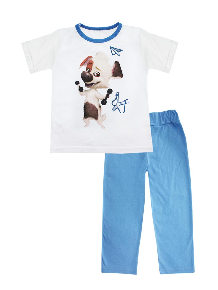 16307Пижама для мальчика КотМарКот включает в себя футболку и брюки. Пижама изготовлена из натурального хлопка. Футболка с короткими рукавами и круглым вырезом горловины оформлена принтом с изображением собачки с гантелями. Свободные брюки имеют широкую эластичную резинку на поясе.