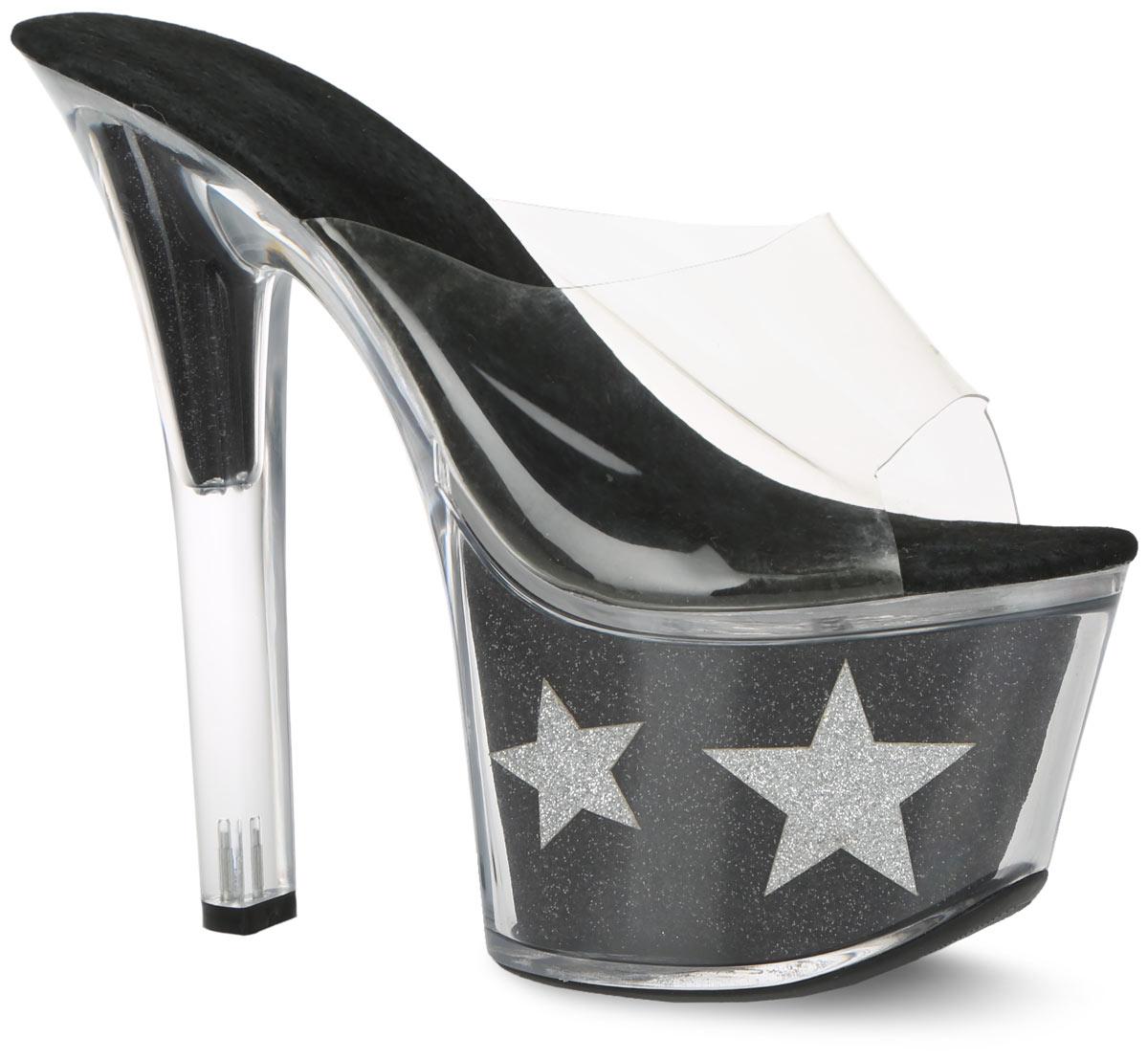 5514Эффектные босоножки от Erolanta Shoes предназначены для танцев. Верх модели выполнен из прозрачного силикона. Стелька из натуральной замши комфортна при движении и предотвращает выскальзывание ноги. Ультравысокий каблук компенсирован высокой платформой. Каблук и платформа, выполненные из прозрачного пластика, внутри оформлены материалом с блестящей поверхностью и декоративными элементами в виде звезд. Стильные босоножки покорят вас с первого взгляда.