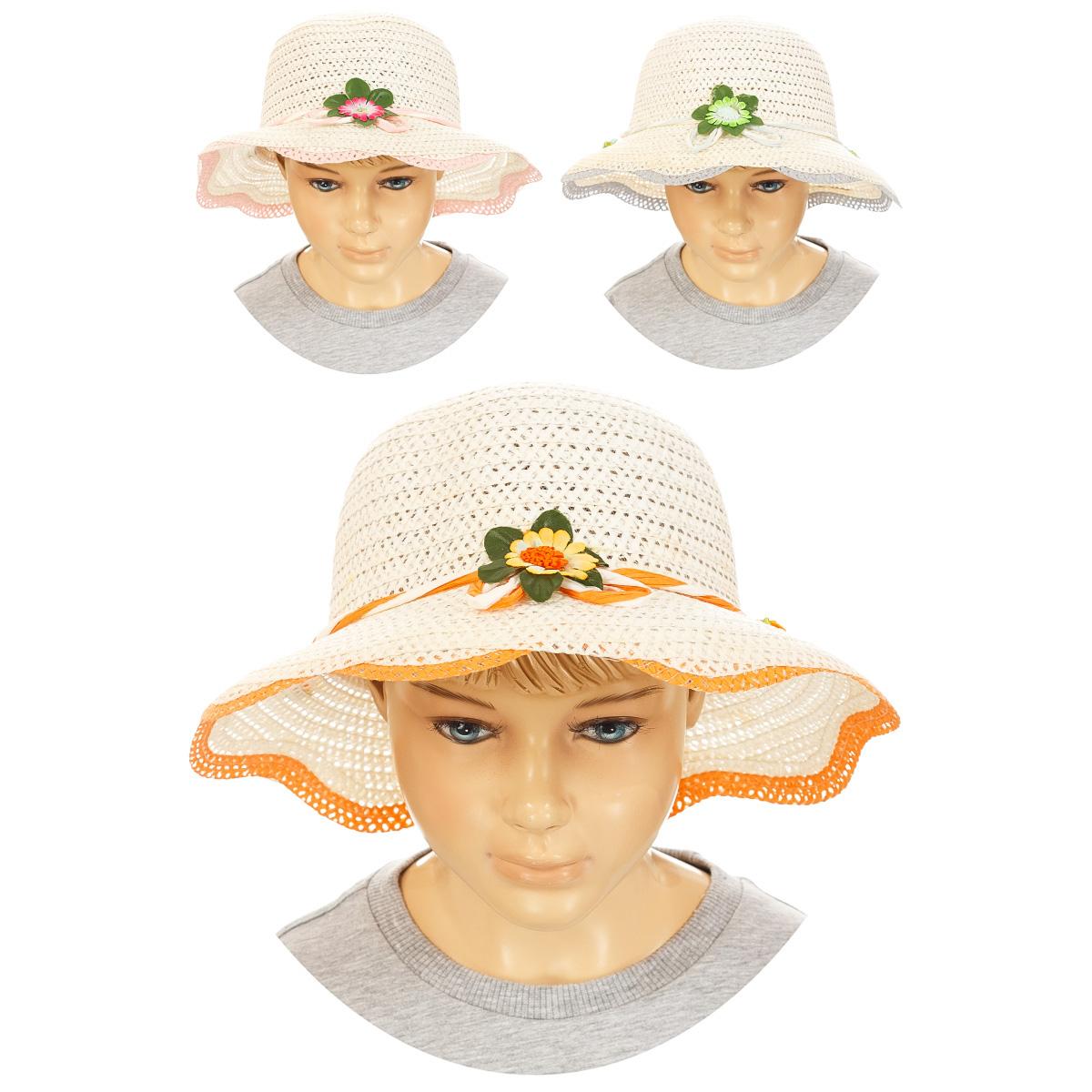 Шапка детская83749-22Летняя шляпа для девочки Yuan Meng станет незаменимым аксессуаром для пляжа и отдыха на природе. Шляпа выполнена из 100% терилена (ПЭТ). Такая шляпка не только защитит малышку от солнца, но и станет стильным дополнением ее гардероба и позволит ей всегда оставаться в центре внимания. Модель украшена соломенной лентой вокруг тульи и дополнена небольшими искусственными цветками. Плетение шляпы обеспечивает необходимую вентиляцию и комфорт даже в самый знойный день. Шляпа легко восстанавливает свою форму после сжатия. Эта милая легкая шляпка надежно защитит глаза вашей дочурки от солнца и позволит ей чувствовать себя комфортно в жаркую летнюю погоду. Уважаемые клиенты! Размер, доступный для заказа, является обхватом головы.