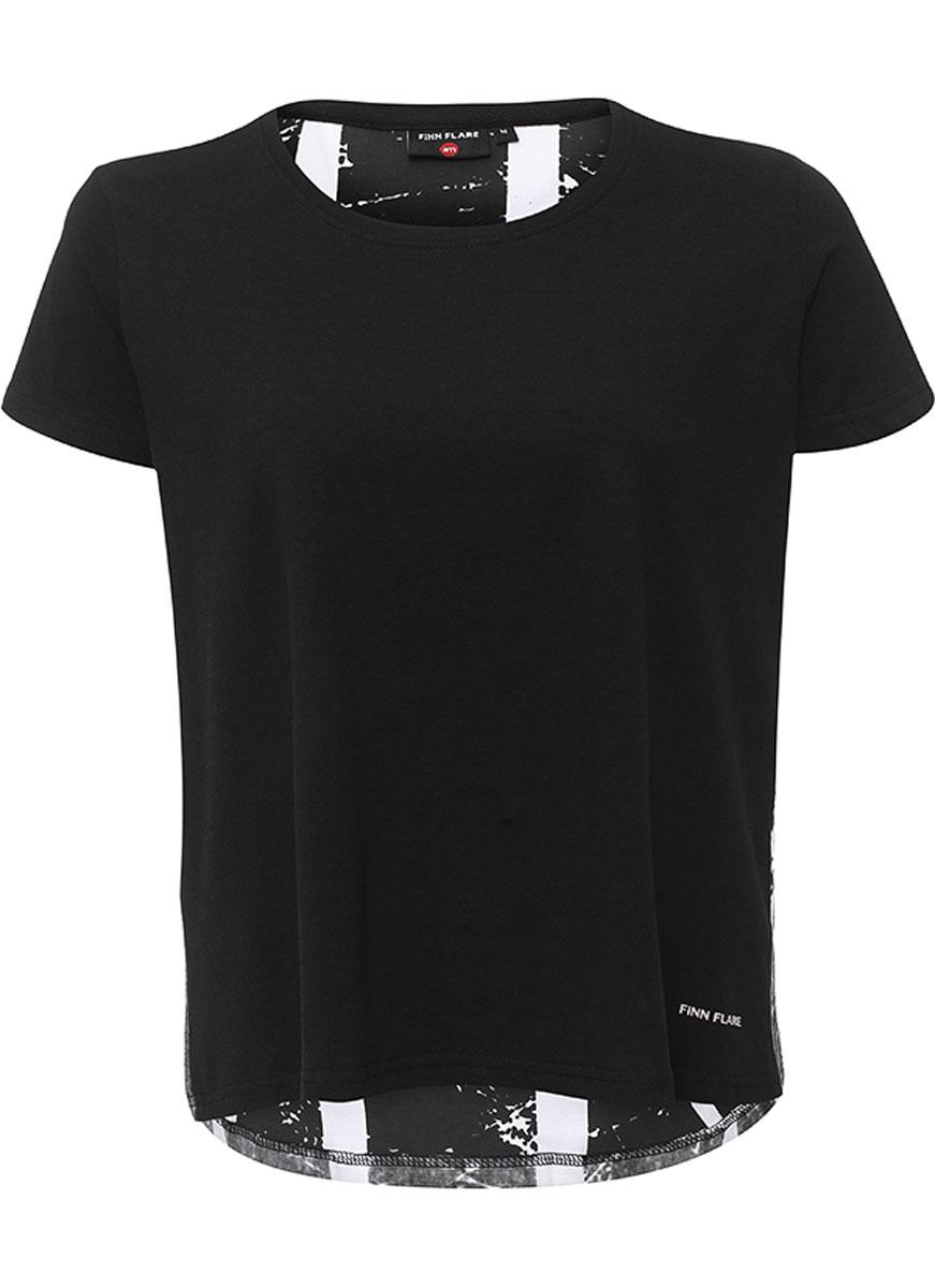 ФутболкаS16-32036_200Женская футболка Finn Flare, изготовленная из эластичного хлопка, тактильно приятная и не сковывает движений. Модель с круглым вырезом горловины и короткими рукавами оформлена на спинке оригинальным принтом. Спинка модели немного удлинена.