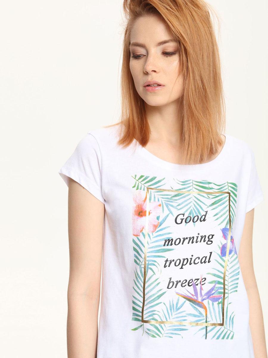 ФутболкаTPO1417BIМодная женская футболка Troll выполнена из хлопка и полиэстера. Модель с круглым вырезом горловины и короткими рукавами оформлена спереди цветочным принтом и надписями.