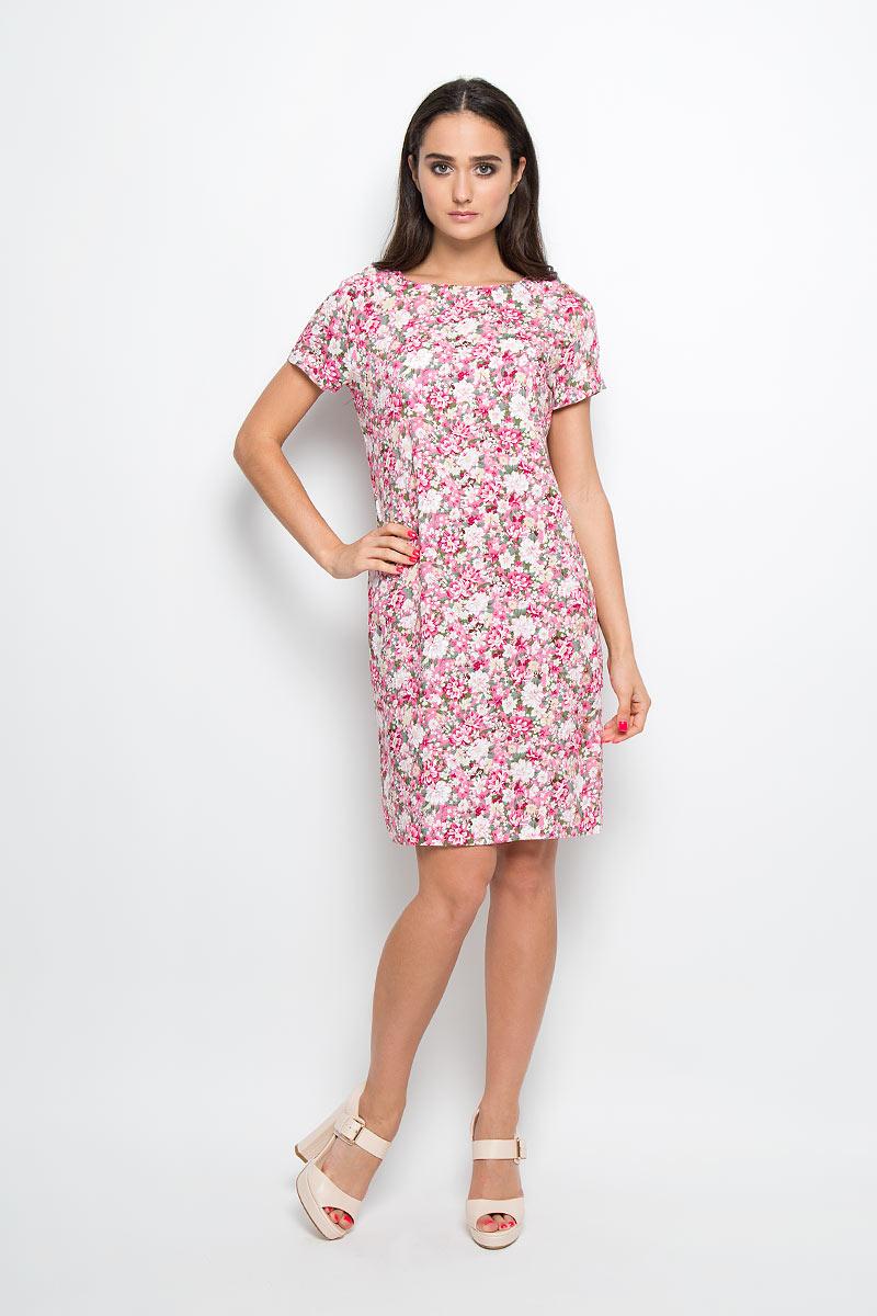 Платье13838Платье F5 идеально подойдет для вас и станет стильным дополнением к вашему гардеробу. Выполненное из 100% вискозы, оно очень приятное на ощупь, не сковывает движений и хорошо вентилируется. Платье-миди с круглым вырезом горловины и короткими рукавами-реглан оформлено оригинальным цветочным принтом. Такое платье поможет создать яркий и привлекательный образ, в нем вам будет удобно и комфортно.