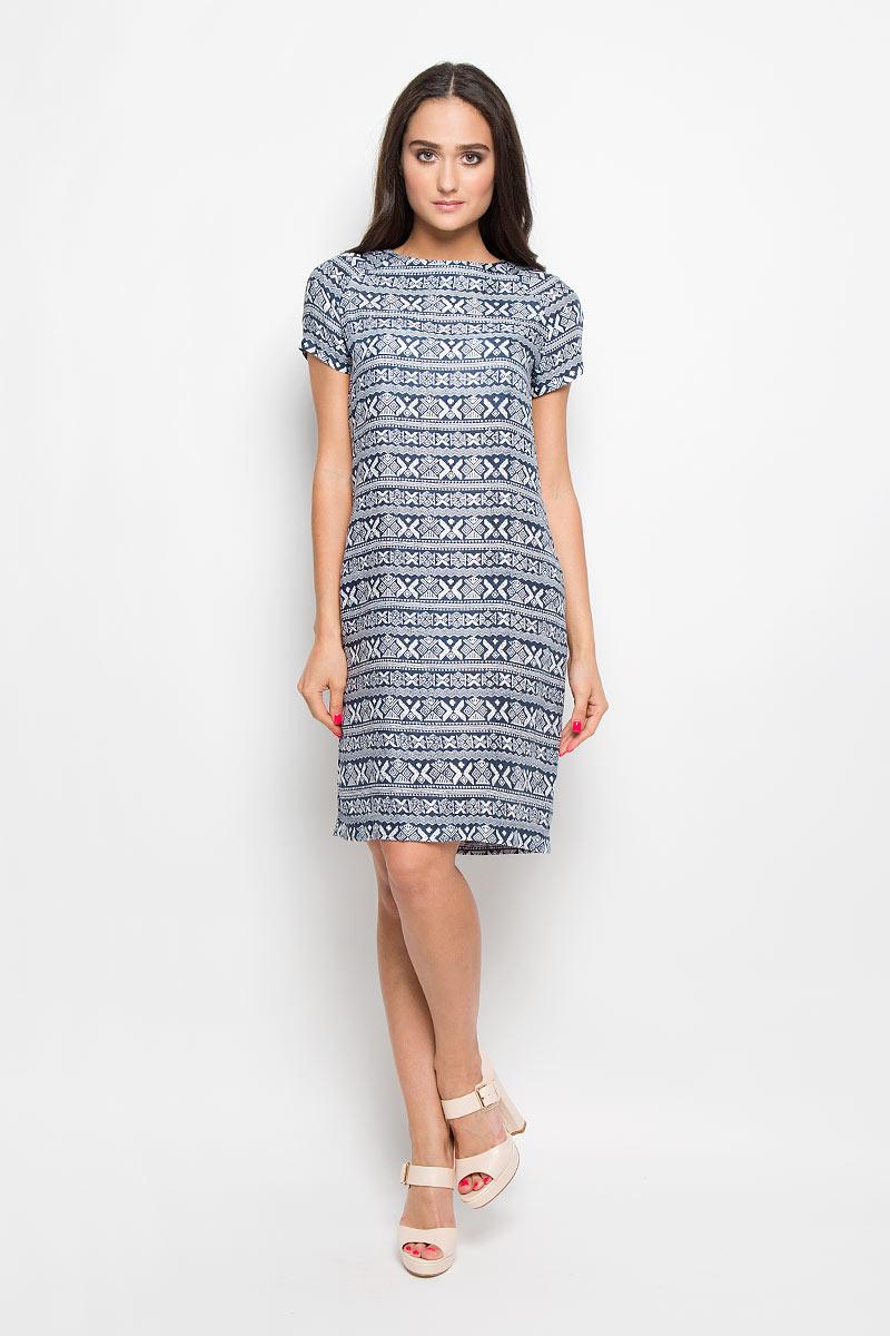 Платье13838Платье F5 идеально подойдет для вас и станет стильным дополнением к вашему гардеробу. Выполненное из 100% вискозы, оно очень приятное на ощупь, не сковывает движений и хорошо вентилируется. Платье-миди с круглым вырезом горловины и короткими рукавами-реглан оформлено оригинальным орнаментом. Такое платье поможет создать яркий и привлекательный образ, в нем вам будет удобно и комфортно.