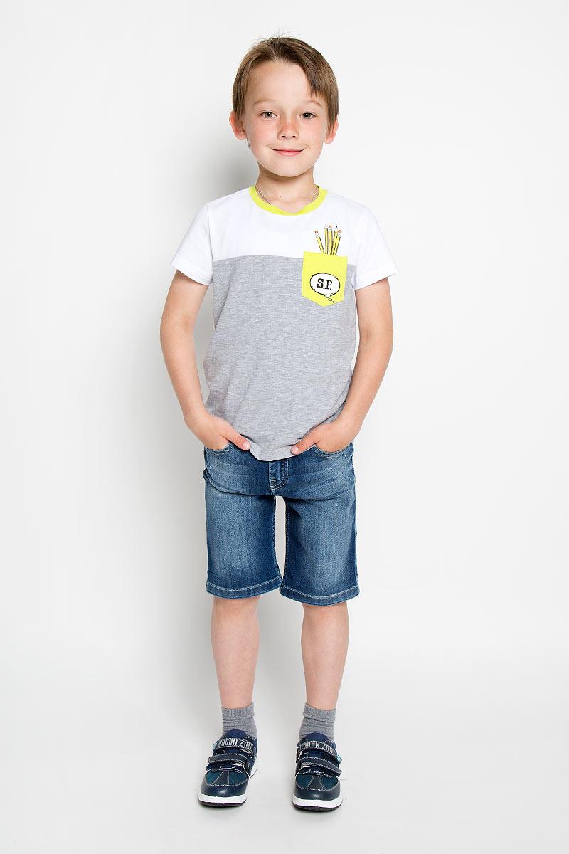 ФутболкаSCFSB-618-14613-200 мод.M5-001Футболка для мальчика Silver Spoon Casual идеально подойдет маленькому моднику для отдыха и прогулок. Изготовленная из эластичного хлопка, она мягкая и приятная на ощупь, позволяет коже дышать, не стесняет движений. Модель с короткими рукавами имеет круглый вырез горловины, дополненный трикотажной эластичной вставкой контрастного цвета. На груди расположен накладной кармашек, оформленный оригинальным принтом. Спинка изделия украшена крупным изображением карандашей и надписями. Современный дизайн и расцветка делают эту футболку модным предметом детской одежды. Обладатель такой футболки всегда будет в центре внимания!