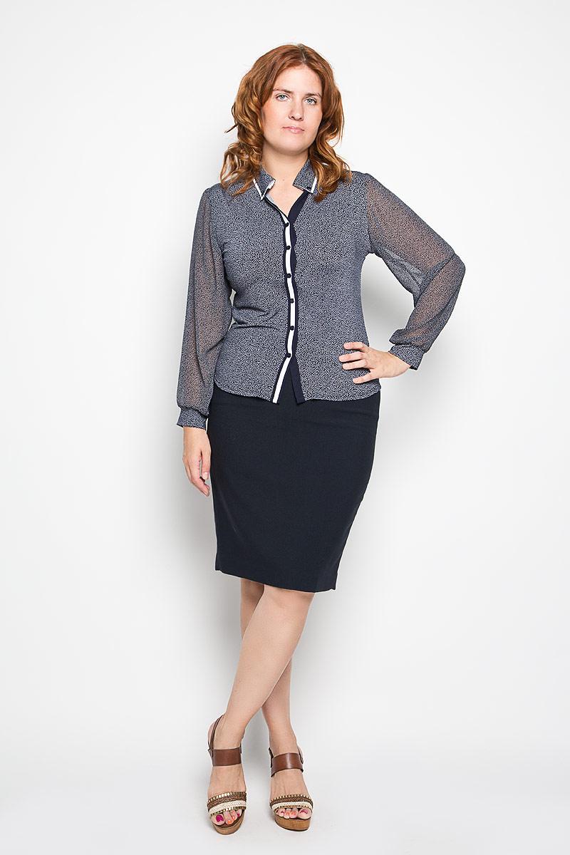Блузка1741-624мСтильная блузка Milana Style, изготовленная из полиамида с добавлением эластана, подчеркнет ваш уникальный стиль. Материал очень легкий, мягкий и приятный на ощупь, не сковывает движения и хорошо вентилируется. Блузка с отложным воротником и длинными рукавами оформлена декоративной планкой с пуговицами по всей длине. Рукава выполнены из полупрозрачной легкой ткани и собраны в эластичные манжеты. Воротник дополнен декоративными пуговицами. По всей поверхности изделие оформлено принтом в виде оригинального орнамента. Такая блузка будет дарить вам комфорт в течение всего дня и послужит замечательным дополнением к гардеробу.