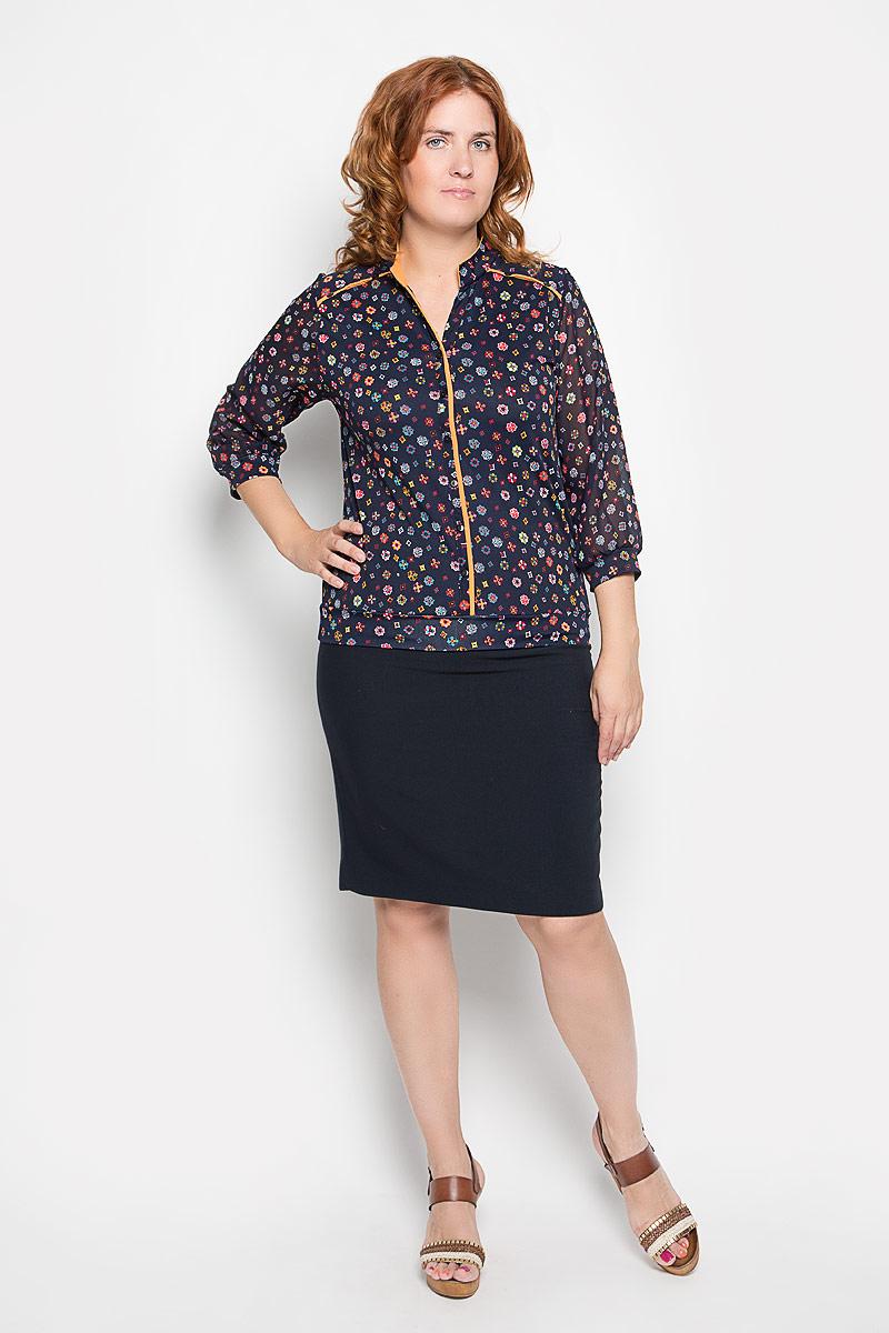 Блузка1514-723мСтильная женская блузка Milana Style, выполненная из полиамида с добавлением эластана, подчеркнет ваш уникальный стиль и поможет создать женственный образ. Модель воротником-стойкой и рукавами 3/4 застегивается спереди на пуговицы. Рукава выполнены из полупрозрачного материала и дополнены эластичной манжетой. Низ изделия также дополнен трикотажной манжетой. блуза оформлена ярким орнаментом. Такая блузка будет дарить вам комфорт в течение всего дня и послужит замечательным дополнением к вашему гардеробу.