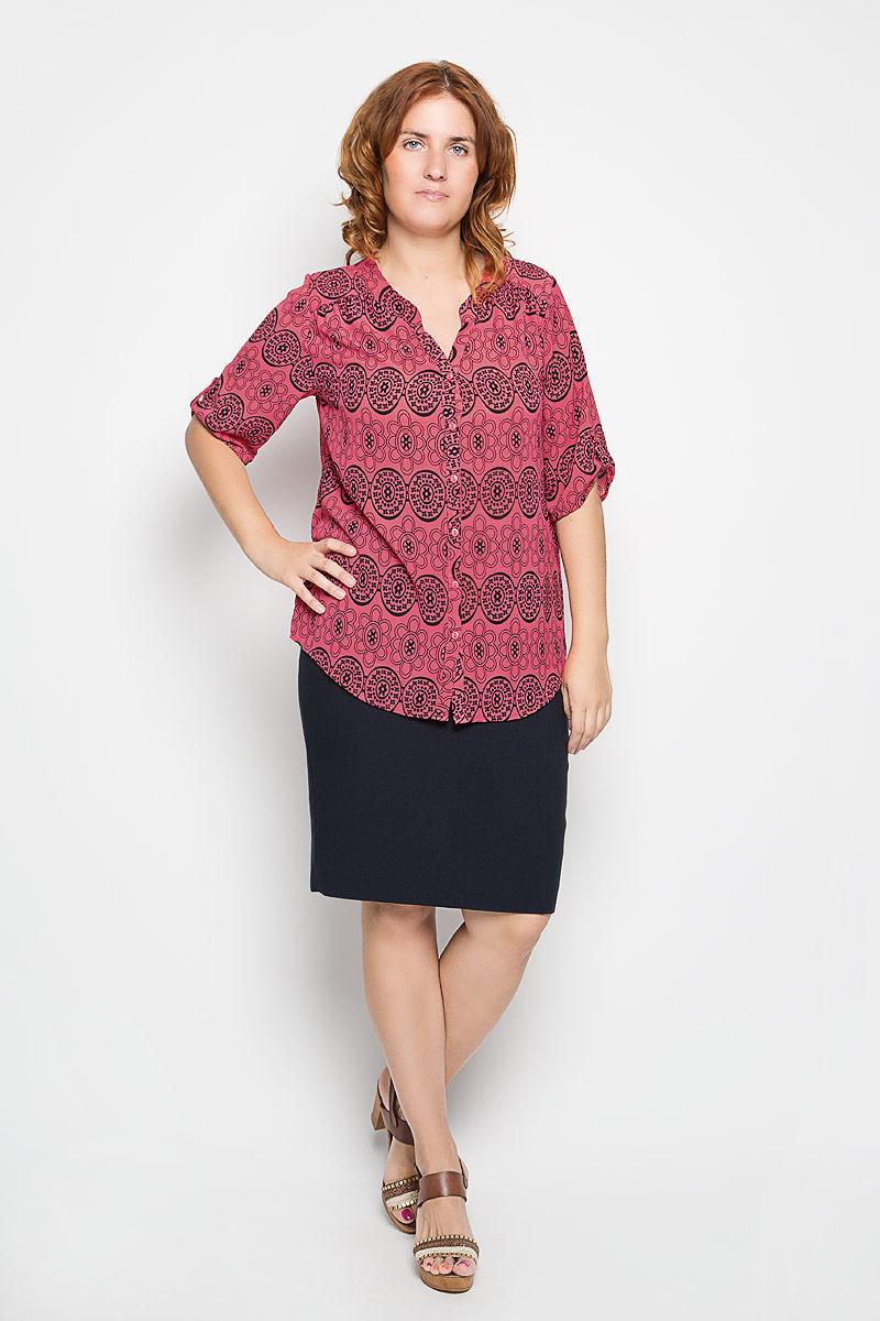 Блузка1629-753мСтильная женская блузка Milana Style, выполненная из полиамида с добавлением эластана, подчеркнет ваш уникальный стиль и поможет создать женственный образ. Модель c V-образным вырезом горловины и короткими рукавами спереди застегивается на пуговицы. Низ рукавов дополнен небольшим хлястиком на пуговице. Изделие оформлено оригинальным орнаментом. Такая блузка будет дарить вам комфорт в течение всего дня и послужит замечательным дополнением к вашему гардеробу.