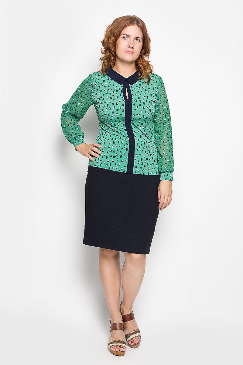 1826-724мСтильная женская блузка Milana Style, выполненная из полиамида с добавлением эластана, подчеркнет ваш уникальный стиль и поможет создать женственный образ. Модель c отложным воротником и длинными рукавами. Рукава выполнены из полупрозрачного материала и оформлены эластичной манжетой. Блуза спереди дополнена вставкой контрастного цвета и небольшим разрезом, а сзади также небольшим разрезом и аккуратной застежкой на пуговицу. Изделие оформлено оригинальным рисункои в виде маленьких птичек. Такая блузка будет дарить вам комфорт в течение всего дня и послужит замечательным дополнением к вашему гардеробу.